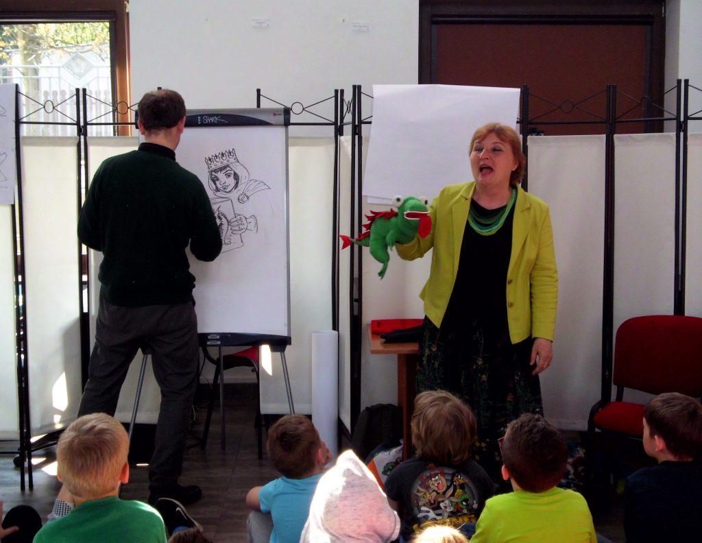 Spotkanie autorskie z autorką literatury dziecięcej Ewą Stadtmüller i ilustratorem Łukaszem Zabdyrem