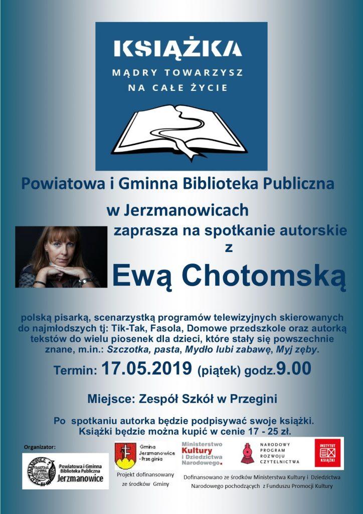 Zapraszamy na spotkanie autorskie z Ewą Chotomską 17.05.2019
