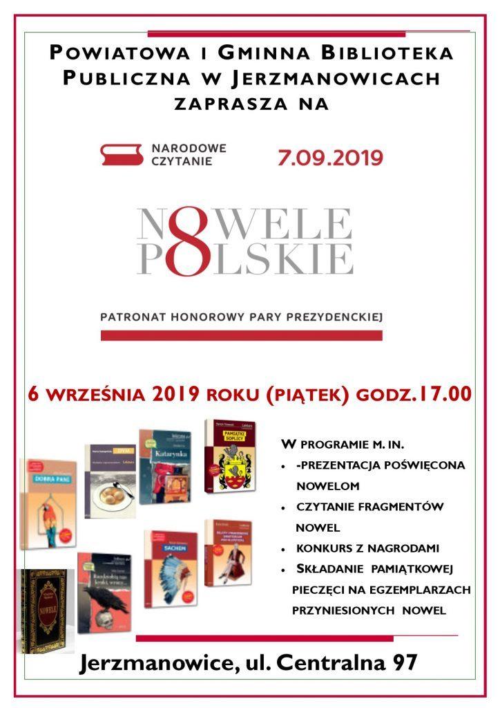 Powiatowa i Gminna Biblioteka Publiczna w Jerzmanowicach zaprasza na Narodowe Czytanie do Biblioteki 6 września 2019 roku