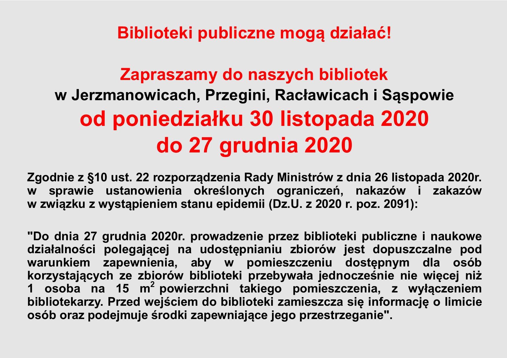 Ogłoszenie o otwarciu bibliotek
