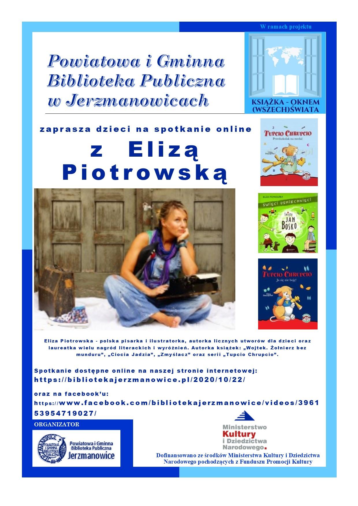 Serdecznie zapraszamy wszystkie dzieci na spotkanie online z Elizą Piotrowską